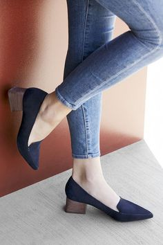 Blue suede pointed toe loafers with a flared heel Pointed Toe Loafers, Heeled Loafers, Dressy Shoes, Cute Shoes, Luxury Shoes, Mode Style, Womens Shoes Wedges, Shoe Collection, Girls Shoes