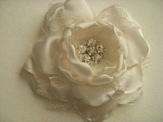 Items similar to Hair Clip - Cream Satin and Lace - 3 inch Flower - With Rhinestone Center, Fabric Hair Flower, Wedding Flower, Wedding Hair, Hair Clip on Etsy Flowers In Hair, Fabric Flowers, Paper Flowers, Wedding Flowers, Wedding Fun, Wedding Ideas, Wedding Accessories, Hair Accessories, Satin Hands
