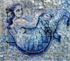 Azulejos Novos (37)_800 Tile Murals, Tile Art, Picture Tiles, Portuguese Tiles, Drawing Projects, Tile Patterns, Blue Velvet, Sea Creatures, Homeland