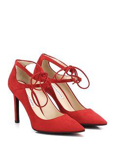 ROBERTO FESTA MILANO - Scarpa con tacco - Donna - Scarpa con tacco in camoscio con cinturino frontale su collo piede e suola in cuoio. Tacco 100. - ROSSO