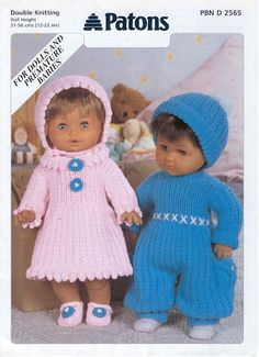 Patons 5178 Doll Clothes Knitting Pattern for - Reborn Premature Knitting Dolls Clothes Patterns, Baby Knitting Patterns, Baby Patterns, Doll Patterns, Clothing Patterns, Crocheting Patterns, Crochet Stitches, Dress Patterns, Girl Dolls