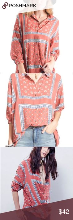 Free People Bandana Oversized Shirt Free People coral, blue and cream bandana print button down shirt.  Oversized fit.  In excellent condition. Free People Tops Button Down Shirts