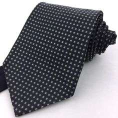 TOMMY HILFIGER USA Classic Wide Navy Grid Green Dotted 100% Silk Neck Tie #TommyHilfiger #NeckTie