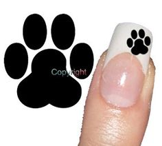 Cuuute!! 40 Black Dog Paw Print Tattoo Nail Art Decals by Tarlidada, $3.00