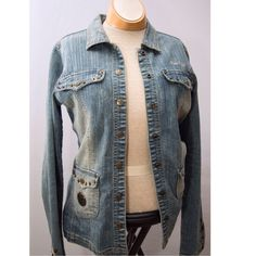 Vintage yet trendy jean jacket Perfect fashion jacket with lots of pizazz   - gently worn snap button jacket- true to size (large or will fit 11-13) Jr sized Pelle pelle Jackets & Coats Jean Jackets