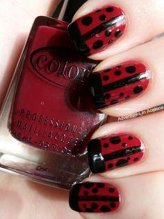 Day 31, Recreate Your Fav Challenge: Chalkboard Nails Ladybugs