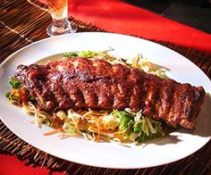 Oven Roasted Pork Ribs with Hoisin-Cranberry BBQ sauce and Asian Coleslaw (recipe) Sweet And Spicy Shrimp, Spicy Shrimp Recipes, Curry Recipes, Pork Recipes, Wine Recipes, Asian Recipes, Recipies, Chicken Yakitori Recipe, Sambal Chicken