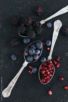 Blackberries, Blueberries and Pomegranate Seeds by Kirsty Begg | Stocksy United #OrganicFoodPhotos