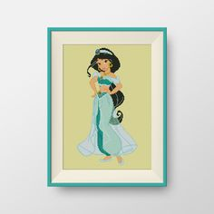 Jasmine cross stitch pattern, Instant Download, Disney Princesses cross stitch pattern, P088 by NataliNeedlework on Etsy