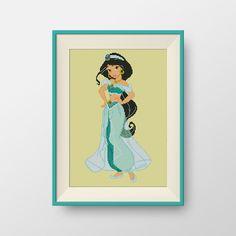 Jasmine cross stitch pattern, Instant Download, Disney Princesses cross stitch pattern, P088 by NataliNeedlework on Etsy