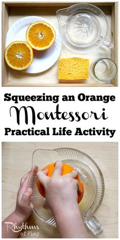 Squeezing an orange Montessori practical life activity is an easy first exercise in at home food preparation for kids. Practical life learning activities like this help toddlers develop self-confidence and self-sufficiency in the kitchen, make preschoolers and kindergarteners feel like they are making a contribution at home, and help elementary aged kids build confidence and skills. Squeezing an orange will also give children an opportunity to strengthen their hands, develop the fine motor…