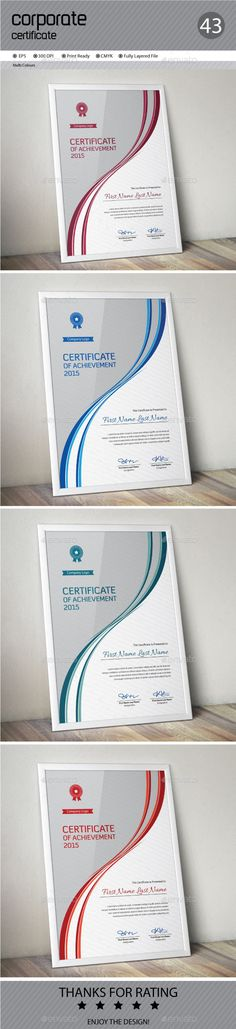 Buy Certificate by ConceptFactory on GraphicRiver. Certificate is especially for Corporate or Professional use. 4 different color and easy to modify. Just select the gl.