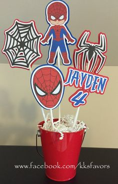 Spider Man Birthday Party Centerpiece/Spiderman Birthday Centerpiece/Spiderman Party Decor/Spiderman Birthday Decor 5 sticks PLUS pail - Be Batman - Ideas of Be Batman - Spiderman Centerpieces 3 sticks PLUS pail by KKsFavors on Etsy Birthday Decorations For Men, Birthday Party Centerpieces, Birthday Table, Superhero Birthday Party, 4th Birthday Parties, Spiderman Birthday Ideas, 3rd Birthday, Just For You, Etsy