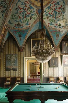 Billiards room at Palazzo Ducale Guarini, photo by Ricardo Labougle for T magazine