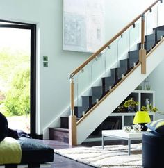 Fusion stair parts, modern staircase. Painted Staircases, Staircase Handrail, Stair Railing, Bannister, Interior Railings, Interior Staircase, Contemporary Stairs, Modern Stairs, Contemporary Decor