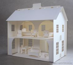 Free+Pattern+Cardboard+Christmas+Houses | Creative ideas for you: Paper Doll House - I love the internal support arches upstairs dividing off the front almost like a hallway, landing or even to create an en-suite bathroom