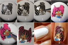 Enamel Girl: Monster High DYI Nail Decals - How to make a decal from stamping, great tip!