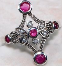 $39.99 I pay the slice + Free shipping & 2 Photon gifts~Natural Ruby & Seed Pearl 925 Solid Sterling Silver Victorian