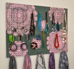 Painted Jewelry Organizer Wall Display,  Jewelry Holder, Custom, Hand Painted, Sage Green, Pink  $92 https://www.etsy.com/listing/154832240/painted-jewelry-organizer-wall-display?ref=shop_home_active