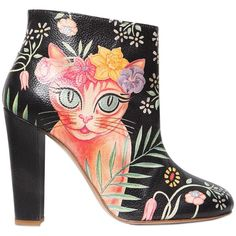 Camilla Elphick Women 105mm Cat Printed Leather Ankle Boots (19,625 MXN) ❤ liked on Polyvore featuring shoes, boots, ankle booties, bootie boots, leather sole boots, high heel bootie, leather heel booties and leather heel boots