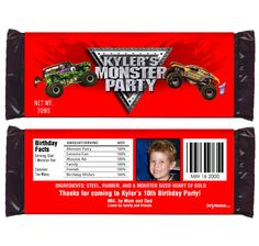 MONSTER TRUCK Candy Wrappers - Custom Birthday, Bar Mitzavah Party Favors, Invitations, Candy Wrappers, Water Bottle Labels, Thank You Notes Personalized