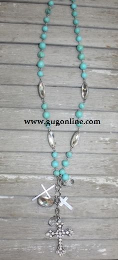Long Turquoise Necklace with Crystal Cross Dangle $19.95 www.gugonline.com