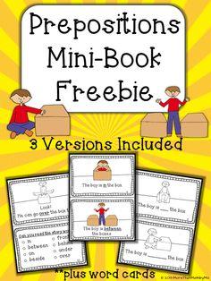 More Than Math by Mo: Prepositions Mini-book FREEBIE!