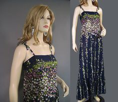 Vintage 70s Dress Navy Blue Pink Green Sweet by vintagedaisydeb, $40.00