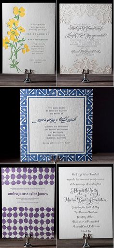 again, not my color but I love the delicacy (might be too much design) on the invitation on the top right...