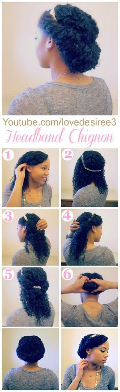 Quick and Easy Spring Hairstyle | Headband Chignon on Natural Hair | http://www.lovedesiree.com