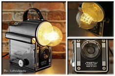 Upcycled Vintage 1953 Chicago Spartus Press Flash Camera with Vintage Amber Edison Light Bulb Repurposed into a Desk Lamp by Loftyideas4u by Loftyideas4u on Etsy