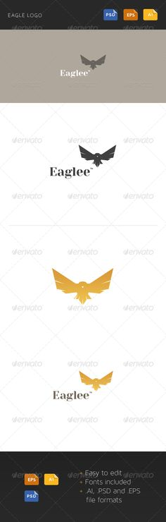 Eagle Logo Template  #GraphicRiver        Eagle Logo Template    Fully vector  AI, PSD and EPS files  Easy to edit  Fully Resizable  Help File included  Fonts:  Yeseva One (download)  Arial     Created: 2November13 GraphicsFilesIncluded: PhotoshopPSD #VectorEPS #AIIllustrator Layered: Yes MinimumAdobeCSVersion: CS Resolution: Resizable Tags: animal #bird #black #business #company #confidence #corporate #creative #eagle #freelance #logo #logotype #orange #strong #vector