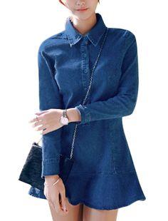 Allegra K Point Collar Long Sleeves Unlined Denim Shirt Dress Blue (Size S / 4)