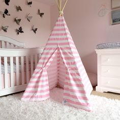 Teepee Play Tent with Poles Pink White Stripe by LittleBraveOnes