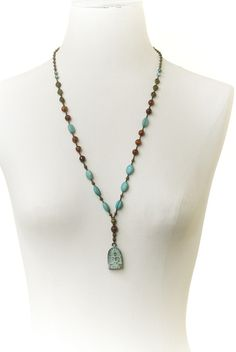 "45- Materials:  bronze toned metal beads, agate, blue mangasite, Budha pendant, nylon cord. KDIA Length: 30"", drop 3"""