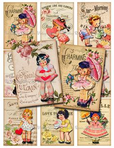 INSTANT DOWNLOAD Vintage Girls with Roses Sheet by TheVintageRemix, $3.75