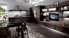 Extreme Combining Wooden White Matte Finishing Kitchen Design With Living Room Scavolini Kitchens, Living Area, Living Room, Muebles Living, Kitchen Pictures, Kitchen Ideas, Kitchen Designs, Low Cabinet, Wall Cladding