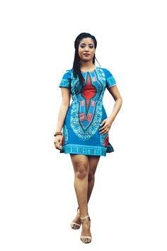 Dashiki African Print Dress ~African fashion, Ankara, kitenge, kente, African women dresses, African prints, Braids, Nigerian wedding, Ghanaian fashion, African wedding ~DKK