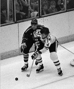 Bobby Orr vs. Bill Goldswrothy, NHL All-Star Game, 1972.