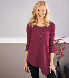 The Women's & Plus-Size V-Bottom Tunic offers superior comfort that looks stylish paired with leggings or jeans. The solid tunic features 3/4-length sleeves