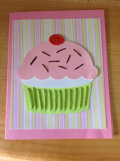 Cut the pieces with my Silhouette Cameo and used DMC floss to stitch the pieces to the card.  Inside it says Happy Birthday Cupcake