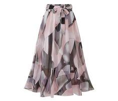 Women Chiffon Skirt Europe Fashion Bow Saia Midi Skirt Jupe Femme Lace Up Falda Mujer Print Floral Skirts Chiffon Floral, Chiffon Skirt, Pleated Midi Skirt, Maxi Skirts, Dress Skirt, High Waisted Skirt, Long Skirts, White Chiffon, Print Chiffon
