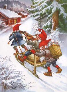 Swedish Artist Lars Carlsson Postcard Gnomes Violin Player and Sledge Christmas Hacks, Christmas Scenes, Christmas Gnome, Christmas Pictures, Vintage Christmas, Merry Christmas, Scandinavian Gnomes, Scandinavian Christmas, Vintage Cards