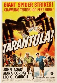 """Tarantula is a 1955 American science fiction film from Universal-International, produced by William Alland, directed by Jack Arnold, and starring John Agar, Mara Corday and Leo G. Carroll. The screenplay by Robert M. Fresco and Martin Berkeley was based on a story by Arnold but inspired by Fresco's teleplay for the Science Fiction Theatre episode, """"No Food for Thought"""", which was aired on May 14, 1955. Poster Measures 18 x 24"""" and, as always, FREE Shipping from Michael's Vintage Decor."""