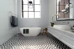 The Block Glasshouse - master bathroom - Darren and Deanne - get the look would these tiles date? i don't know but i love them now. The Block Bathroom, Bathroom Floor Tiles, Bathroom Renos, Laundry In Bathroom, Bathroom Ideas, Bathroom Inspo, Bathroom Tapware, Bathroom Marble, Tub Tile