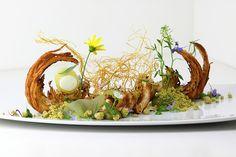 Food Art! Caramelized croissant, green apple, pine needle, chartreuse, pistachio