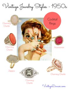 Cocktail rings were a popular choice of jewelry in the 1950s. Choose from these styles to recreate a mid century style.