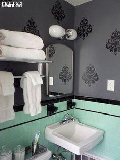 mint, black, charcoal + white retro-turned-modern bathroom