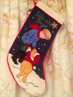 Pooh needlepoint Christmas stocking