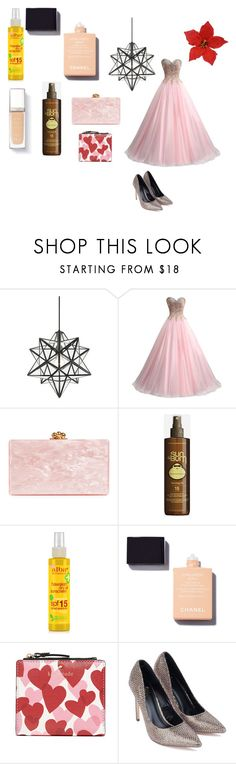 """""""Party"""" by efrat-kazoum ❤ liked on Polyvore featuring Possini Euro Design, Edie Parker, Sun Bum, Alba Botanica and Kate Spade"""